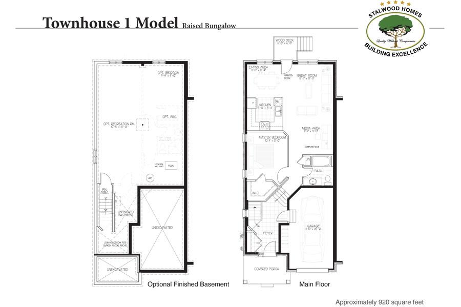 Townhouse 1 floorplan raised bungalow